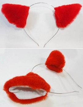Красные неко ушки на ободке