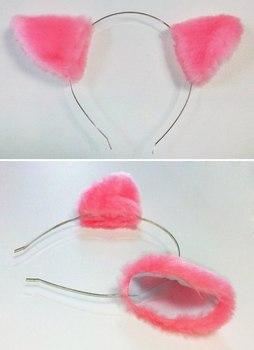 Розовые неко ушки на ободке