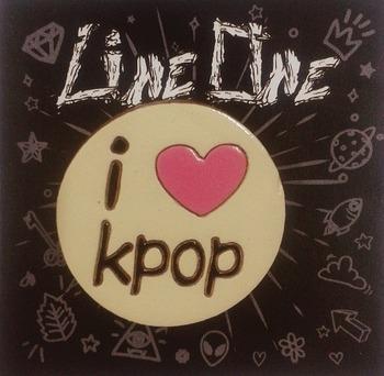 Деревянный значок I love K-pop