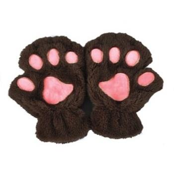 """Перчатки """"Лапки"""" Темно-коричневые"""