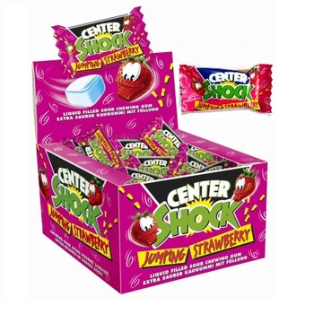 Жевательная резинка Chupa Chups Center Shock Jumping Strawberry