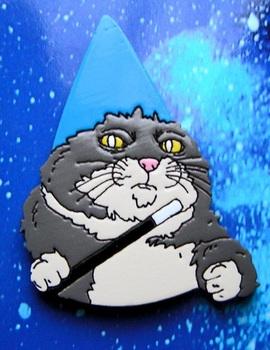 Деревянный значок Кот Волшебник Вжух / Wizard Cat